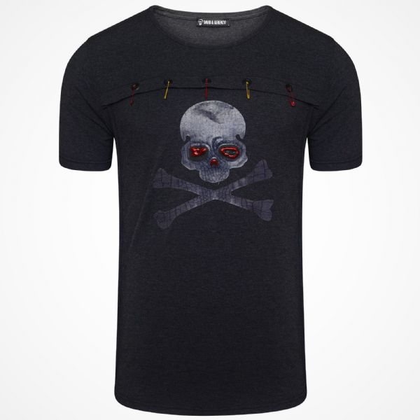 Men Italian DG Designer Black  Skull Safety Pin Long T Shirt Slim Fit Crew Neck